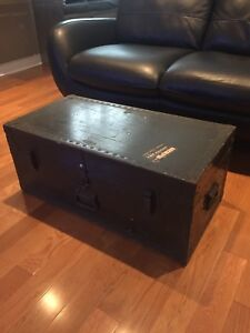 Antique Military Trunk - 1949 Army Green - great Coffee Table