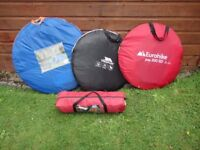 Various tents, 3 x pop up and eurohike Tamar 2 all 2 person