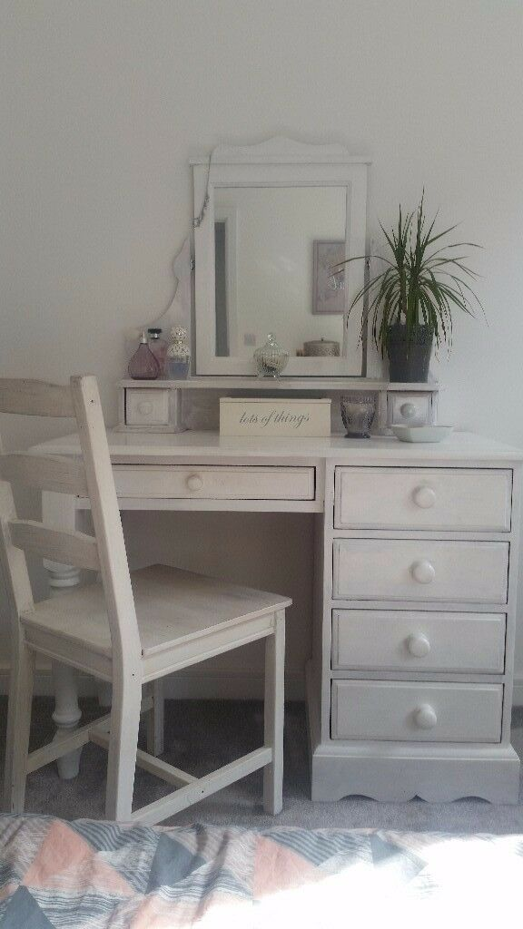 Solid Pine Shabby Chic Upcycled White Dressing Table With Mirror Draws And Ikea Chair