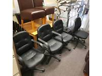 Selection if black leather swivel chairs £25 a piece