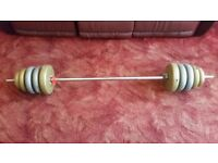 32kg of York weights plus bar and collars.