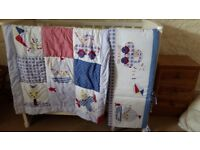 Beautiful cot duvet and matching cot bumpers. Hardly used.