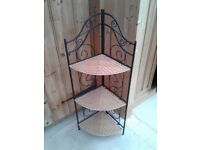 FOLDING CORNER UNIT WROUGHT IRON METAL WICKER SHELVES 3 TIER BOOT SALE DISPLAY SHOP KITCHEN STORAGE