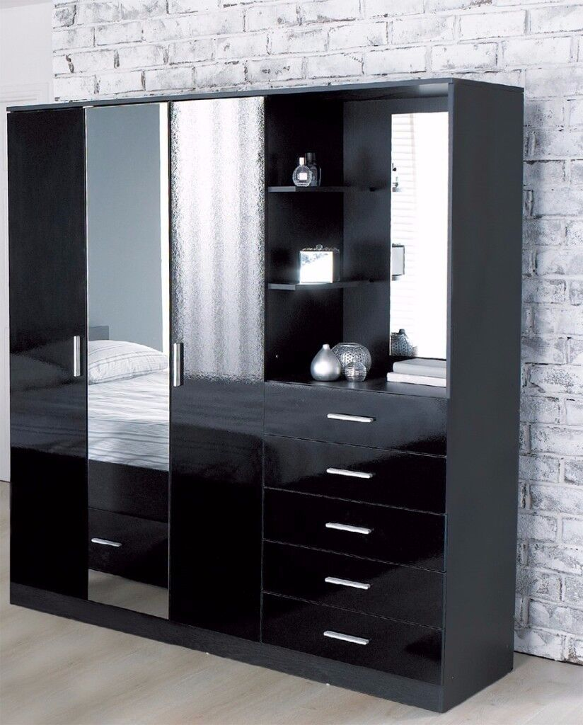 Brand New Carleton High Gloss Mirrored Combi Unit Black