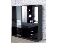 Brand New Carleton High Gloss Mirrored Combi Unit Black High Gloss Wardrobe Mirror Dressing Area