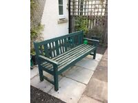 """Solid Teak Garden benches. """"Lord Roberts Workshop"""" Good Cond. Outstanding quality"""