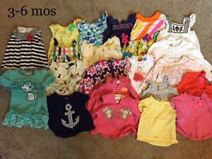 Dresses and shirts 3-6mos