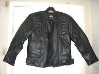 Rhino Motorcycle/Motorbike Bike Black Leather Jacket Size 12 EU 42