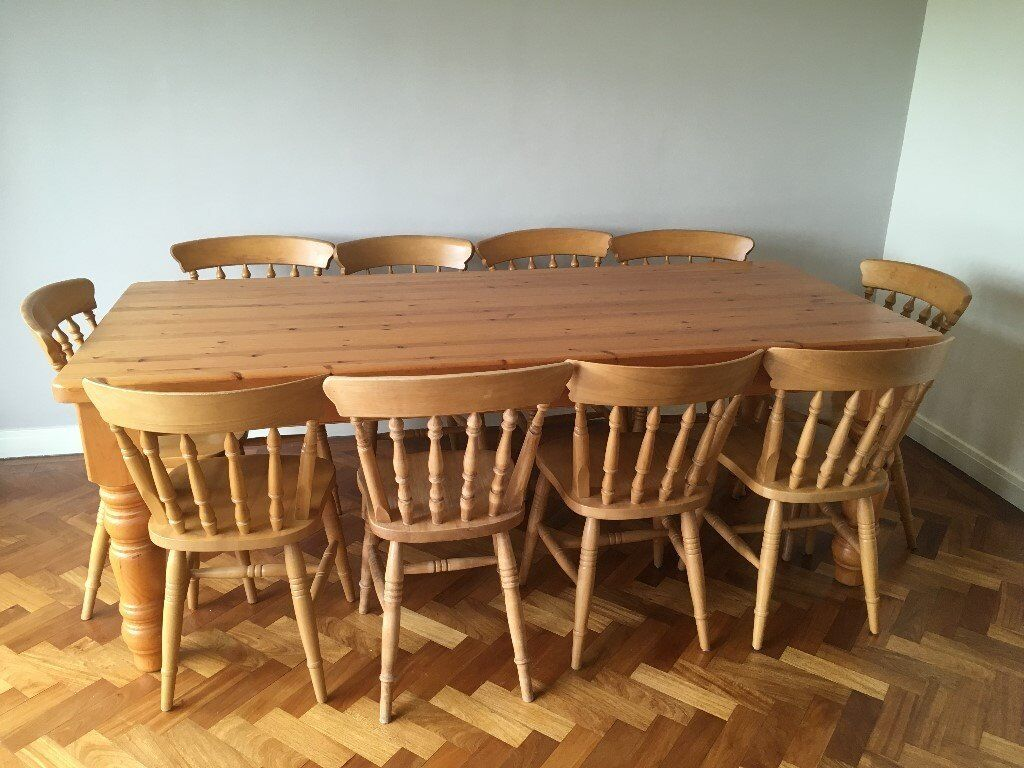 dining table 10 chairs. large farmhouse pine table 7ft and 10 chairs dining x