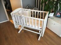 Mothercare swing/glide crib with mattress and bumper
