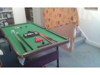6ft snooker / pool table with cues / table tennis table