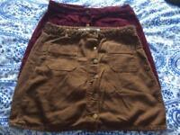 2 fine needlecord skirts size 14