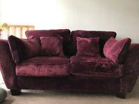 2 seater purple velvet sofa in fantastic condition