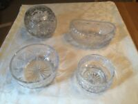 Four Glass Crystal Bowls
