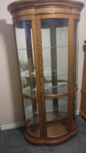 Lovely large vintage display cabinet with bowed glass