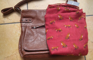 New Brown Leather Purse and Burgundy Fox Scarf
