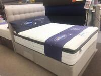 5'0 king size half ottoman divan, pocket spring + latex mattress and headboard set.