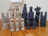 "chess set resin material exc cond only displayed 6"" high"