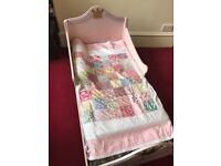Beautiful Solid wooden Princess bed. Toddler sized sleigh bed. With Gold crown feature and