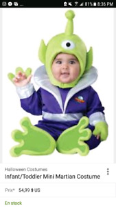 Costume d'extraterrestre (18-24 mois)