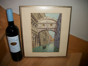 Italy Venice bridge scene watercolour (illegible signature)