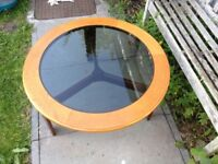 Astro Teak And Smoked Glass Round Coffee Table