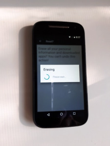 Motorola E Unlocked and at Factory settings.