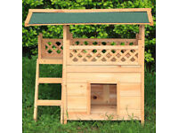 Wooden Cat Dog Home Garden Patio Waterproof Small Dog Kennel Wooden Stairs House