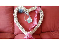 Lighted wooden heart wall hanging