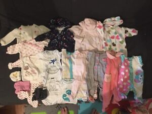 Newborn baby clothes girl 30 pieces + diapers + free items