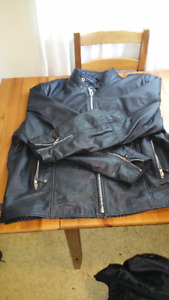 Motorcycle leather jacket  w zip-out lining $90