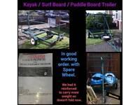 Kayak, Paddle board, surf board trailer
