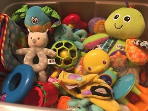 Tote of infant toys