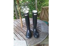 Hunter Wellington Boots (M/F) - Size 6 - Navy Original Tall Wellingtons - Slim Leg Fit