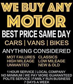Wanted cars, vans and 4x4s