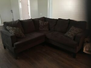Brown fabric condo size sectional sale
