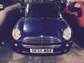 2005 55 Mini One convertible in blue! Spares or repairs! Clutch slipping!