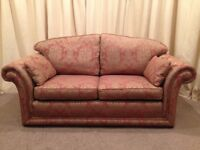 2 Seater Sofa - Luxurious Gold & Plum Pattern Fabric - FREE Delivery Available