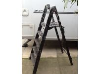 Old wooden step ladders great paint markings probably ideal for displaying items on .