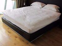 Free Bed Frame - superking size, black leatherette upholstered