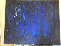 Original Abstract Artwork, Blue and Black