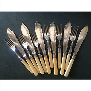 Antique silver-plated fish/dessert cutlery
