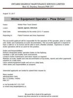 Winter Equipment Operator - Plow Driver Wanted