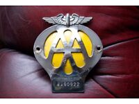 Vintage authentic original metal AA badge