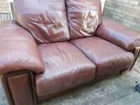 Real leather dark red 2 seater sofa free delivery