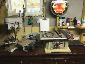 3 Power Tools for Sale Scroll Saw, Table Saw, Drill Press