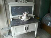 Shabby shic marble wash stand with jug and bowl