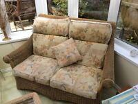 Conservatory set of 2 seater settee and two chairs+small glass top table