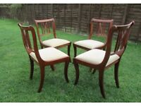 Set of 4 beautiful dining chairs, Velour upholstered seats, carved wood in usable condtion