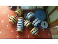 79kgs in vinyl weights bars and a bench